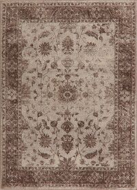 Distressed Floral Beige Area Rug 5x7
