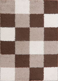 Multi-Colored Checked Shaggy Area Rug 5x7
