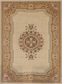 Victorian Style Beige Aubusson Area Rug 5x7