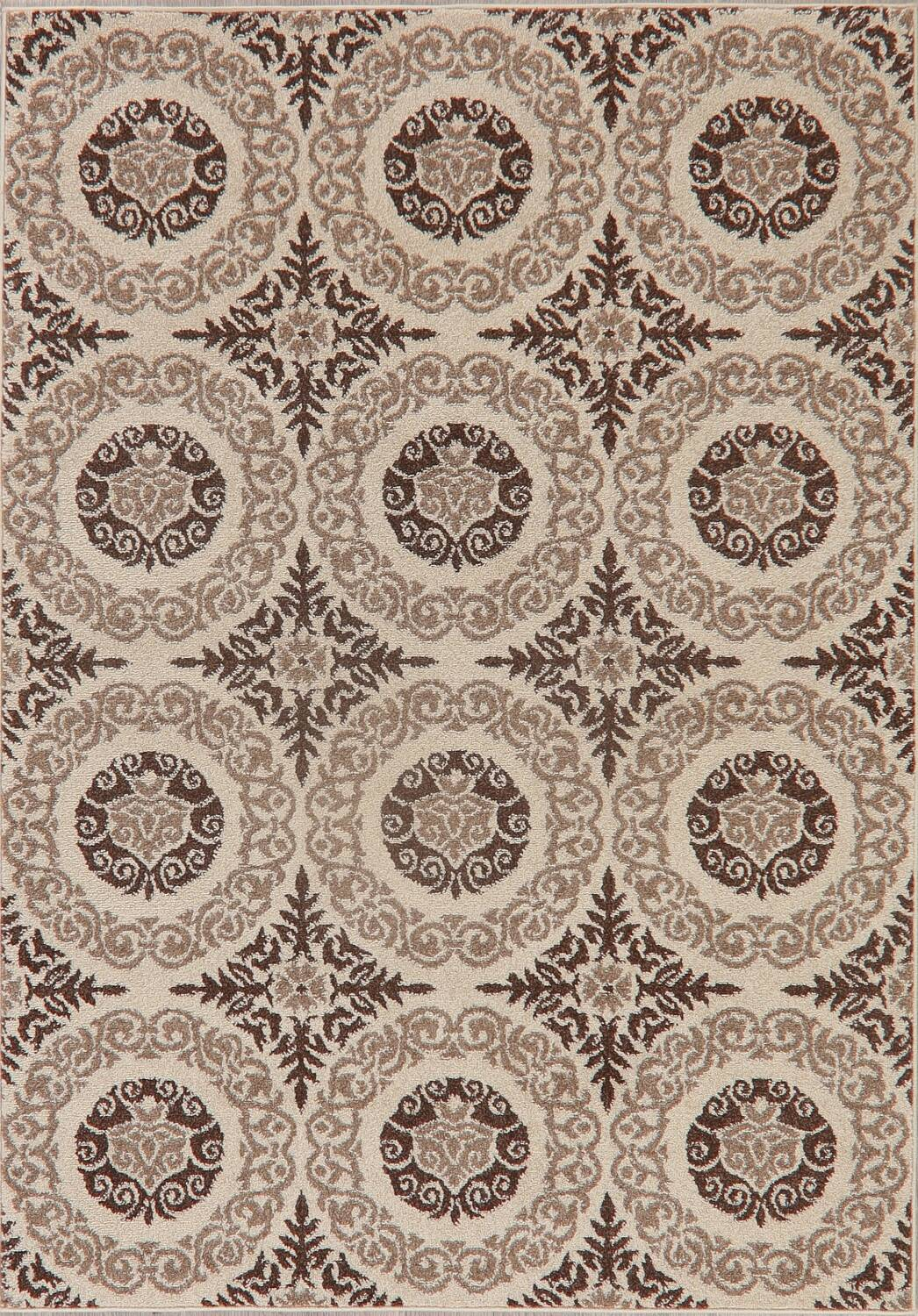 Beige & Brown Tuscan Chester Area Rug 5x7 image 1