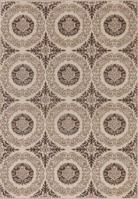 Beige Art & Craft Modern Area Rug 5x7