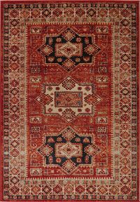 Rust Red Geometric Tribal Kazak Area Rug 5x8