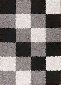 Checked Shaggy Area Rug 5x7