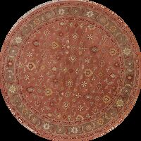Classic All-Over Floral Rust Round Rug 8x8