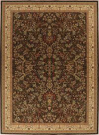 All-Over Floral Black Sarouk Oriental Area Rug 9x13