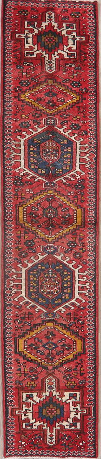 Tribal Red Gharajeh Persian Runner Rug 2x8