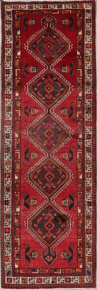 Vintage Tribal Red Meshkin Persian Runner Rug 4x11