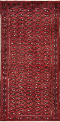 All-Over Red Geometric Bokhara Oriental Rug 3x6