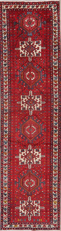 Vintage Tribal Red Gharajeh Persian Runner Rug 3x10