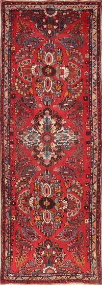 Vintage Floral Red Lilian Persian Runner Rug 4x10