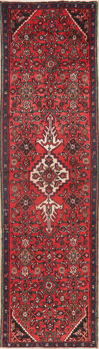 Vintage Geometric Red Hamedan Persian Runner Rug 3x9
