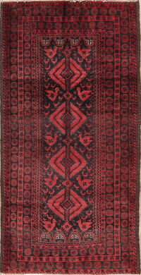 Vintage Tribal Geometric Balouch Persian Area Rug 4x7