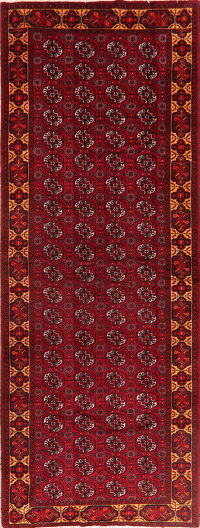 All-Over Geometric Balouch Persian Runner Rug 5x13