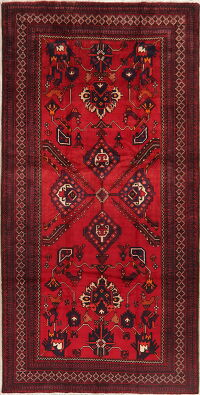 Vintage Tribal Red Zanjan Persian Runner Rug 6x11
