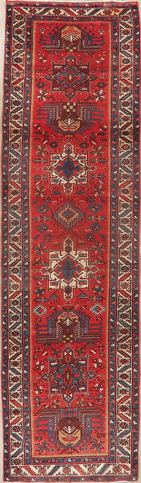 Tribal Geometric Heriz Serapi Persian Runner Rug 3x11