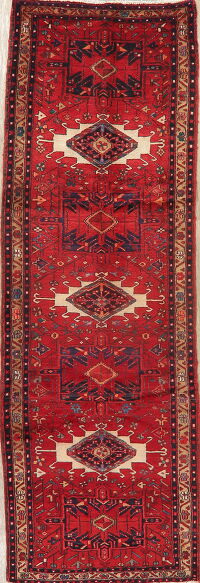 Tribal Geometric Gharajeh Persian Runner Rug 4x10