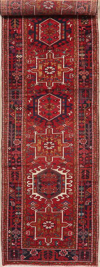 Tribal Geometric Gharajeh Persian Runner Rug 4x15