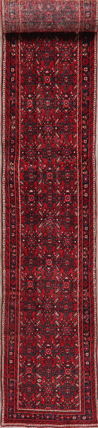 Vintage All-Over Red Hossainabad Persian Runner Rug 3x16