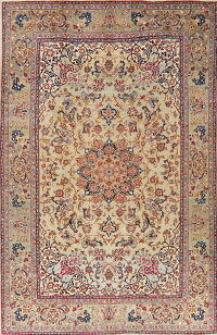 Vintage Floral Green Najafabad Persian Area Rug 8x13