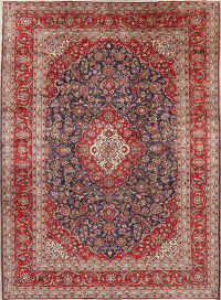 Navy Blue Floral Kashan Persian Area Rug 8x11
