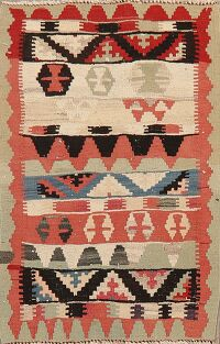 Tribal Geometric Kilim Persian Area Rug 3x4
