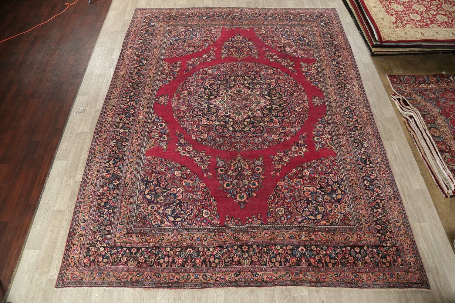 Antique Floral Red Dorokhsh Persian Rug Large 11x14 image 2