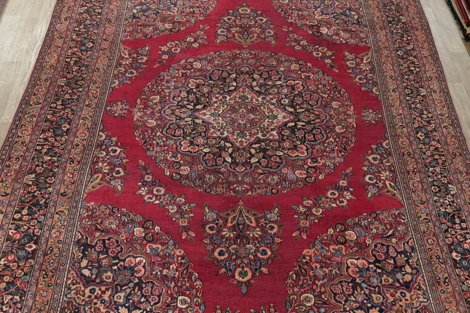 Antique Floral Red Dorokhsh Persian Rug Large 11x14 image 3