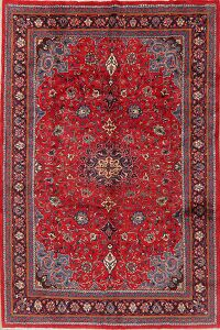 Floral Red Sarouk Persian Area Rug 7x11