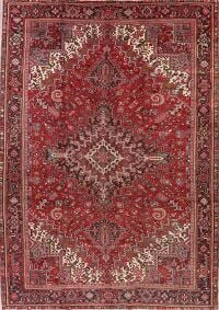 Vintage Geometric Red Heriz Persian Area Rug 10x14