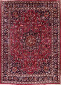 Floral Red Mashad Persian Area Rug 10x14