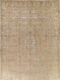 Antique Muted Distressed Tabriz Persian Area Rug 9x13