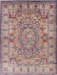 Vintage Dynasty Pictorial Kashmar Persian Area Rug 10x13