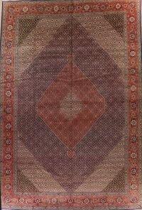 Antique Vegetable Dye Geometric Tabriz Persian Rug 13x19