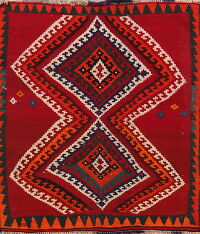 Tribal Geometric kilim Persian Area Rug 4x5