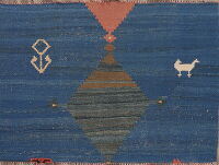 Tribal Geometric Kilim Shiraz Persian Blue Area Rug 4x3