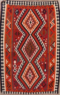 South-Western Red Kilim Qashqai Persian Area Rug 5x8