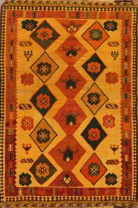 Gold Geometric Kilim Shiraz Persian Area Rug 4x7