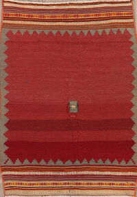 Geometric Red Kilim Qashqai Persian Area Rug 3x4