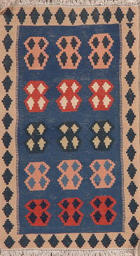 Blue Geometric Kilim Shiraz Persian Area Rug 3x5