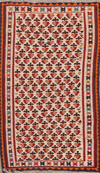 All-Over Geometric Kilim Shiraz Persian Ivory Area Rug 3x5