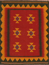 South-Western Kilim Afghan Red Area Rug 4x4 Square