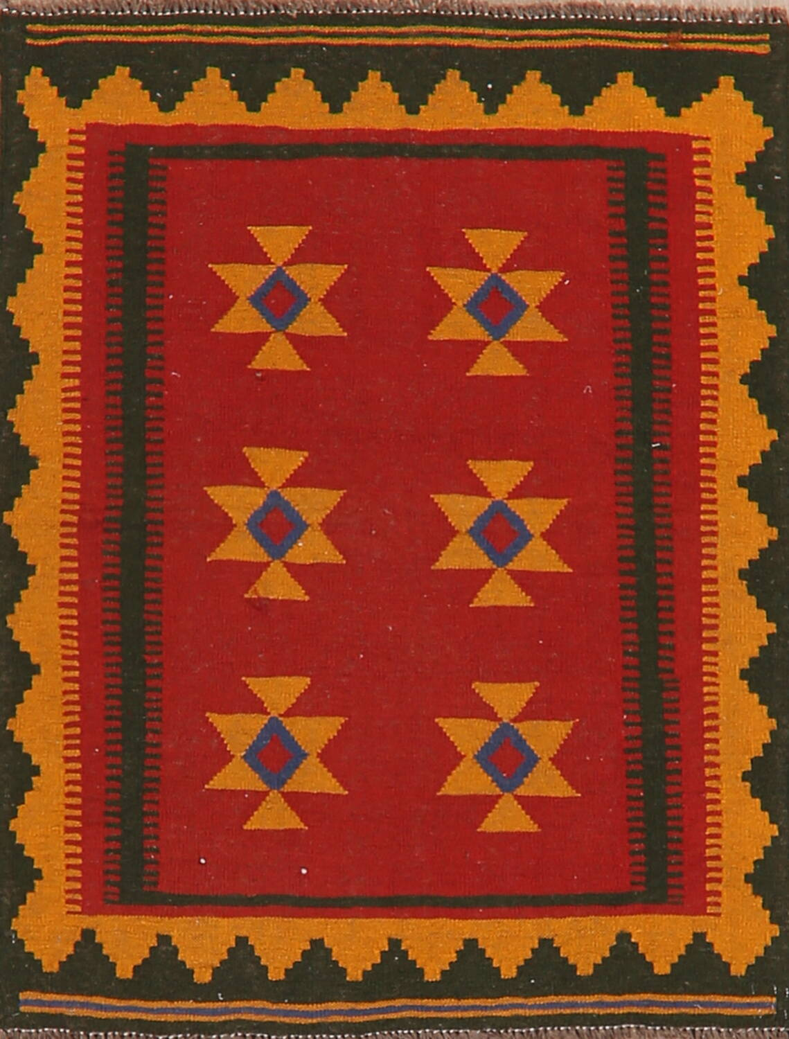 South-Western Kilim Afghan Red Area Rug 4x4 Square image 1