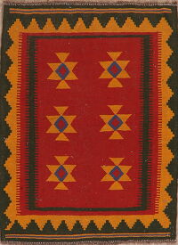 South-Western Kilim Afghan Red Area Rug 3x5