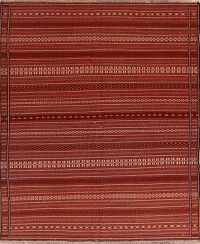 Striped Geometric Kilim Afghan Area Rug 8x11
