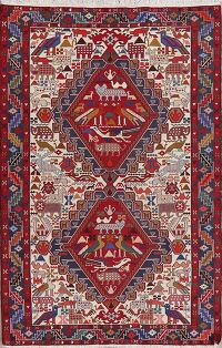 100% Silk Animal Pictorial Kilim Persian Area Rug 4x7