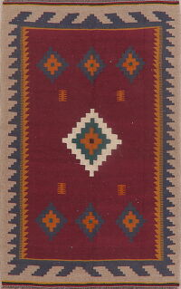 Geometric Red Kilim Persian Area Rug 4x7