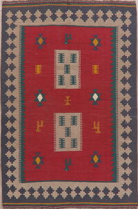 Geometric Red Kilim Persian Area Rug 5x6