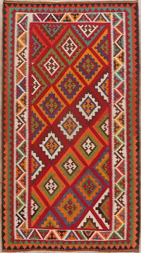Vegetable Dye Geometric Kilim Qashqai Persian Area Rug 5x8