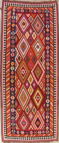 Wool & Silk Vegetable Dye Kilim Qashqai Persian Rug 5x12
