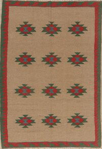 Brown Geometric Kilim Persian Area Rug 4x6